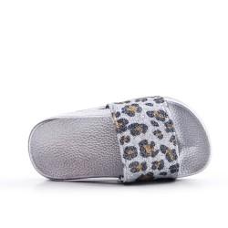 Claquette fille argent en simili cuir imprimé léopard