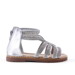 Silver girl sandal with rhinestones