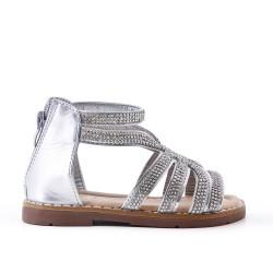 Sandalia niña plata con strass