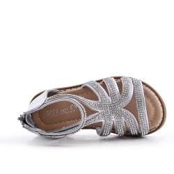 Sandale fille argent à strass