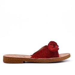Claquette confort rouge à nœud