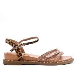Leopard sandal with rhinestones