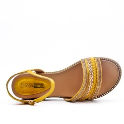 Yellow sandal with rhinestones