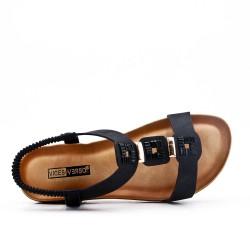 Big size -Black flat sandal in faux leather