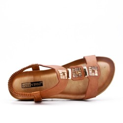 Grande Taille - Sandale plate camel en simili cuir