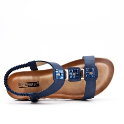 Grande Taille - Sandale plate bleu en simili cuir