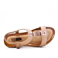 Big size -Pink flat sandal in faux leather