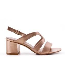 Golden imitation leather sandal with heel