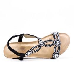 Disponible en 3 colores - Sandalia de cuña con diamantes de imitación