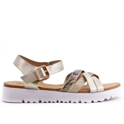 Sandale confort dorée en simili cuir