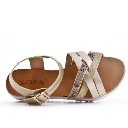 Golden comfort sandal in faux leather
