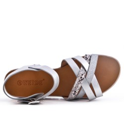 Silver comfort sandal in faux leather