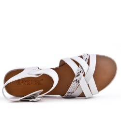 White comfort sandal in faux leather