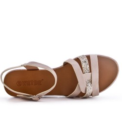 Beige comfort sandal in faux leather