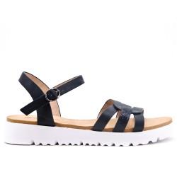 Sandale confort noire en simili cuir