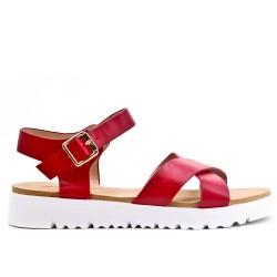 Sandale confort rouge en simili cuir