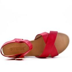 Sandalia confort rojo en piel sintética