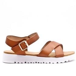 Sandale confort camel en simili cuir
