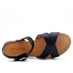 Sandalia confort negro en piel sintética