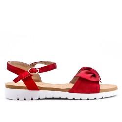 Sandalia confort rojo con lazo