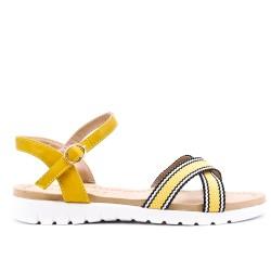 Sandalia plana bimaterial amarillo