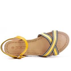 Yellow bi-material flat sandal