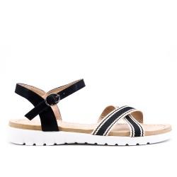 Black bi-material flat sandal