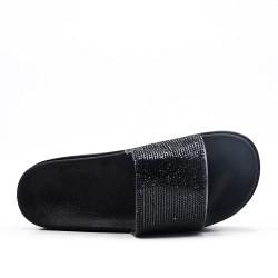 Claquette à strass noire avec plateforme
