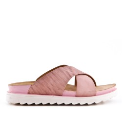 Pink comfort slider in faux leather
