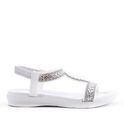 Sandalia blanco con diamantes de imitación