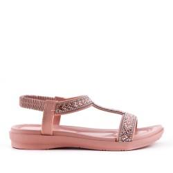 Sandalia rosa con diamantes de imitación