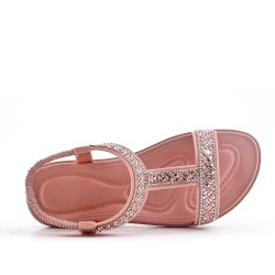 Pink sandal with rhinestones