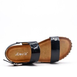 Sandale noire en vernis à semelle confort