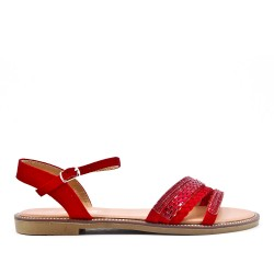 Sandalia plana rojo con brida trenzada