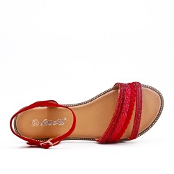 Red flat sandal with braided flange