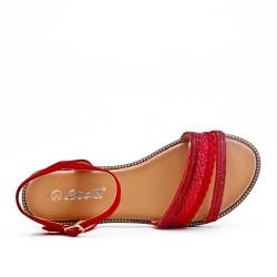 Sandale plate rouge à bride tressée