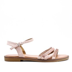 Pink flat sandal with braided flange