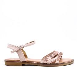 Sandalia plana rosa con brida trenzada
