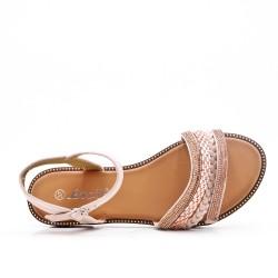 Sandale plate rose à bride tressée