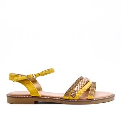 yellow flat sandal with braided flange