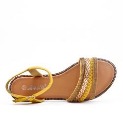 Sandale plate jaune à bride tressée