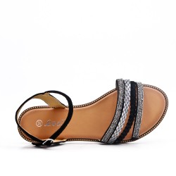 Black flat sandal with braided flange
