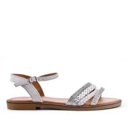 Sandale plate grise à bride tressée