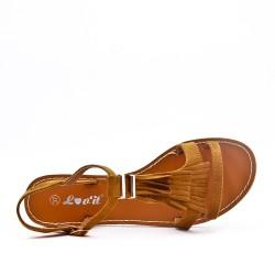 Disponible en 6 couleurs -Sandale noire en simili daim à frange