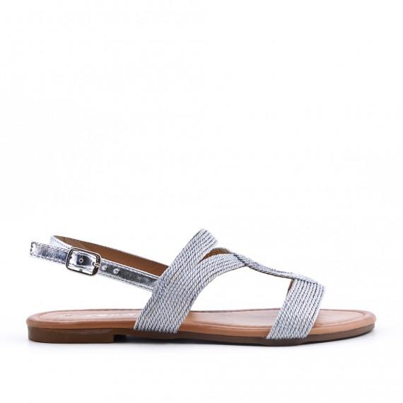 2cee9afe1dea Gray flat sandal with rhinestones