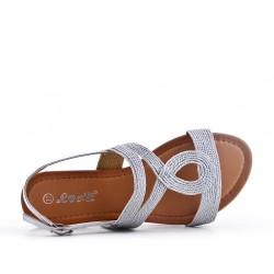 Sandale plate argent