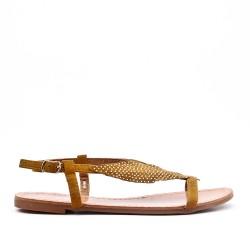 Sandale camel à motif feuille