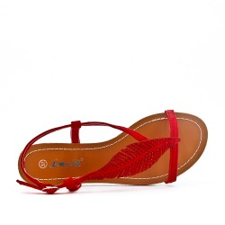 Red sandal with leaf pattern