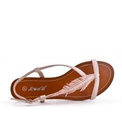 Sandale rose à motif feuille