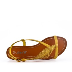 Yellow sandal with leaf pattern